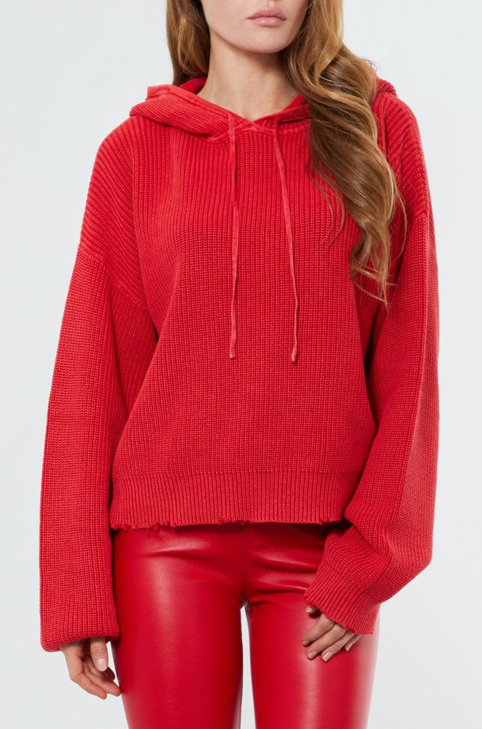 Red Cotton Mesh Pullover Hoodie