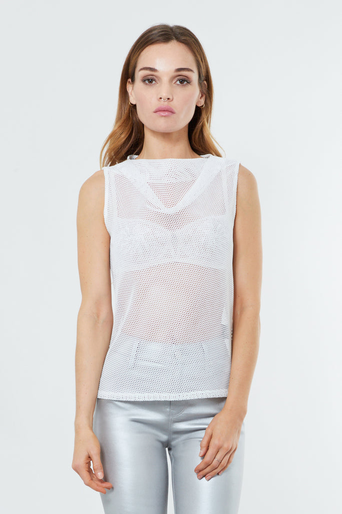 White Mesh Cowl Neck Sleeveless Top