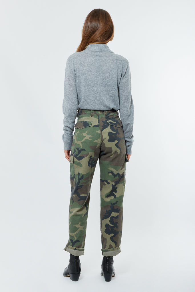 Camo Cotton Belted Cargo Pants