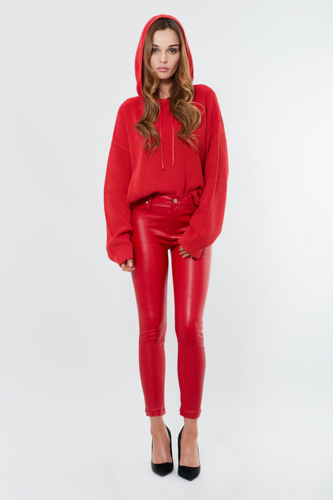 Red Leather Skinny Pant