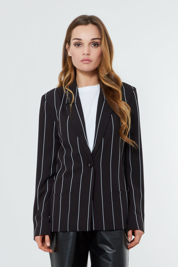 Black Striped Boxy Tailored Blazer