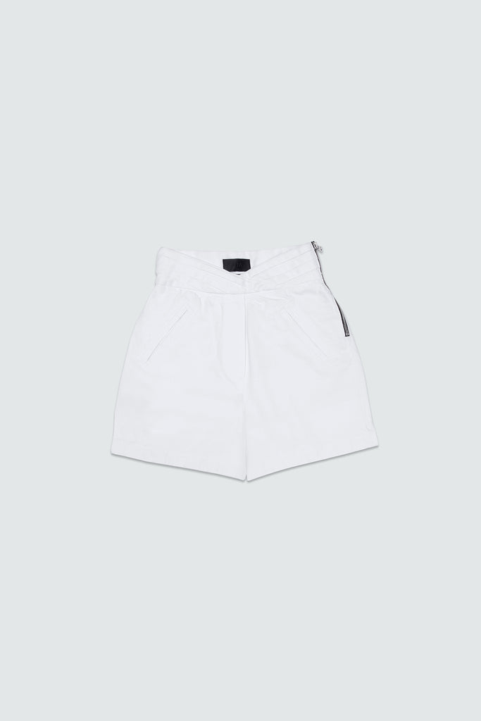 White Cotton Highwaisted Shorts