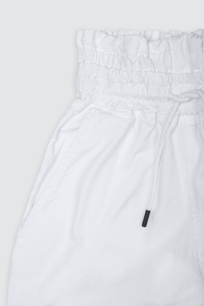 White Cotton Wideleg Paperbag Pants