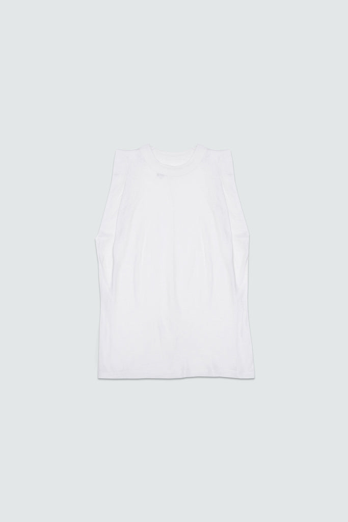 White Cotton Cashmere Pleated Tank Top