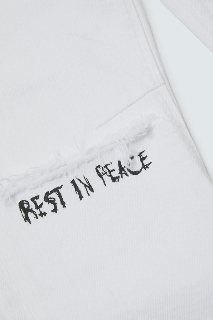 Rest In Peace embroidered on White Denim Jeans