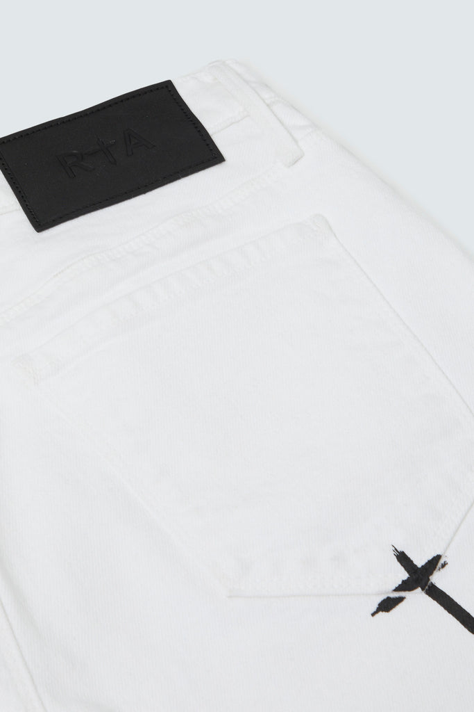 Leather patch & logo for White RIP Skinny Jean