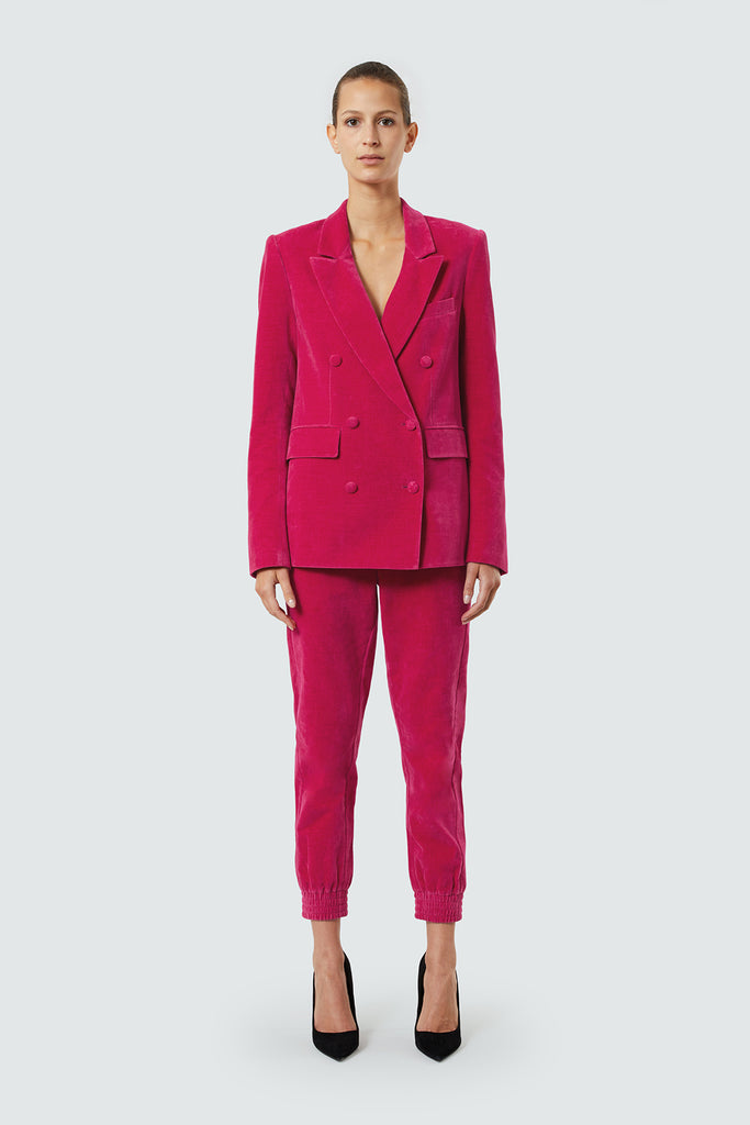 Fuschia Velvet Double Breasted Boxy Blazer