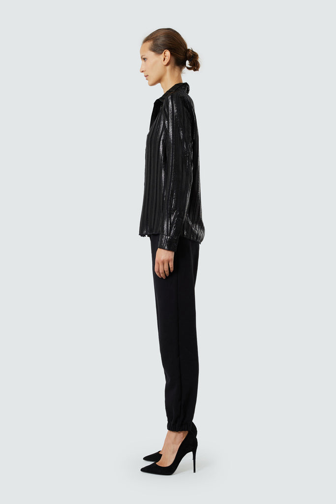 Black Oversized Lurex Striped Sheer Button Up
