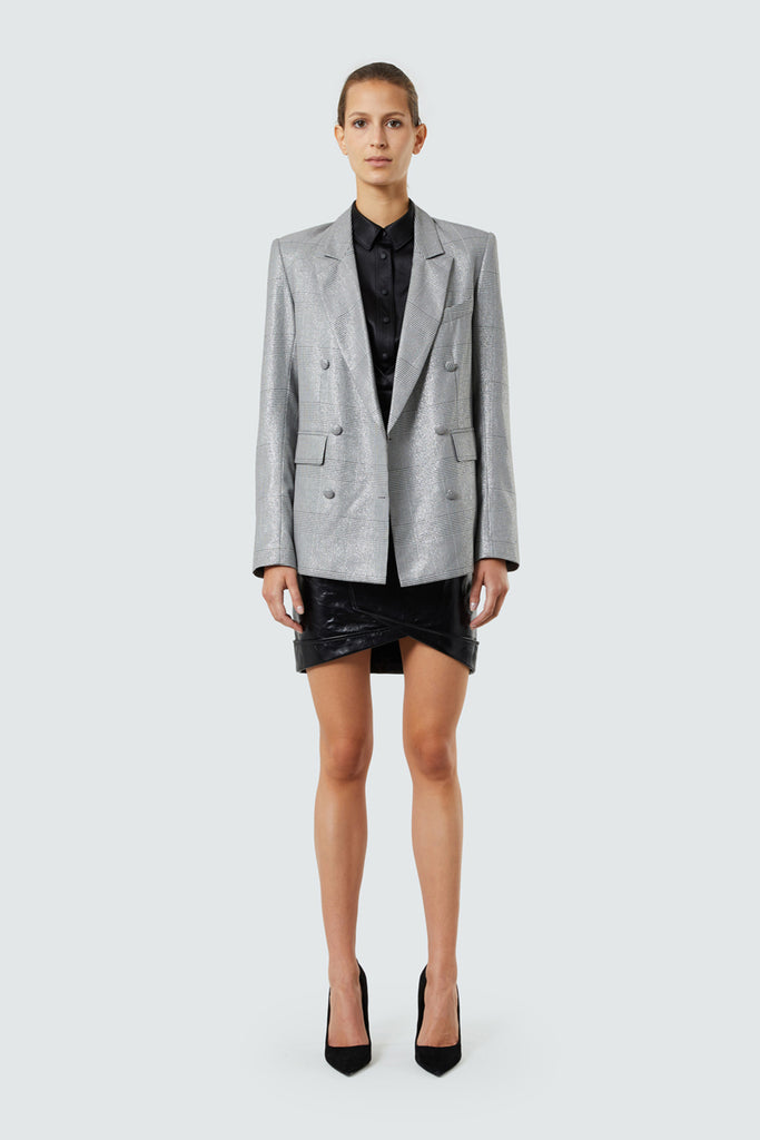 Silver Plaid Double Breasted Blazer