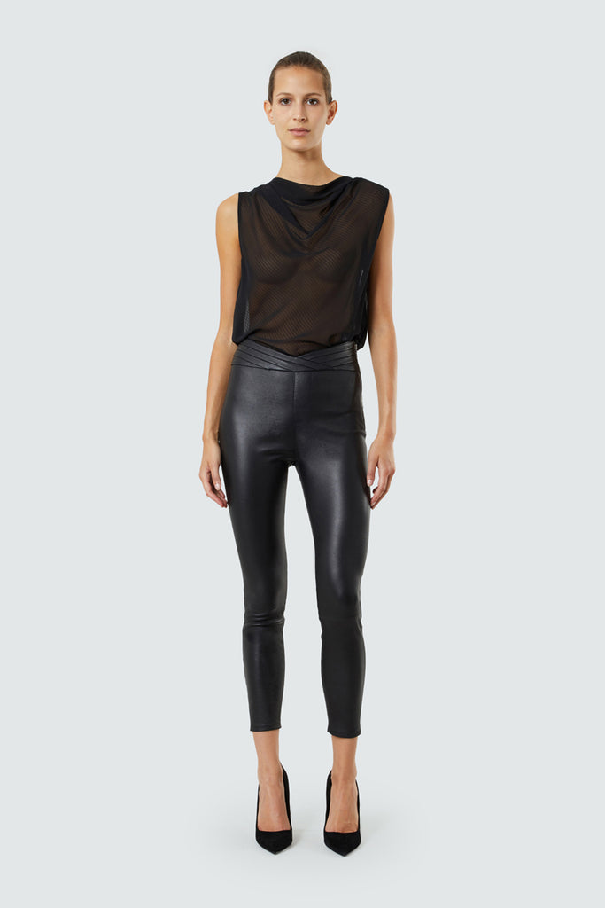 Black Sheer Cowl Neck Sleeveless Top