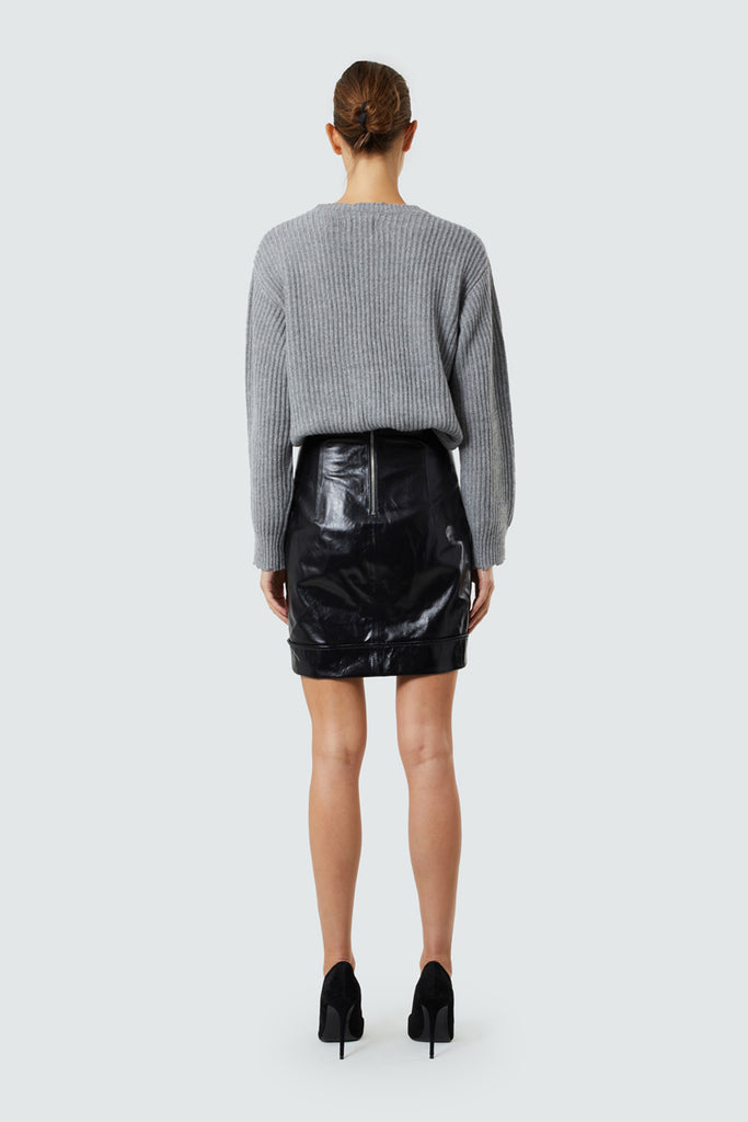 Black Lambskin Leather Mini Skirt