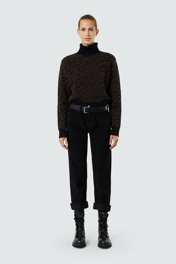 Black Cord Boyfriend Jeans with Attached Half Belt