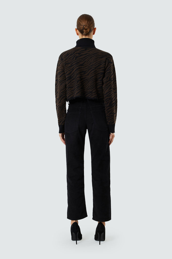 Brown Cedar Zebra Cashmere Cropped Turtleneck Sweater