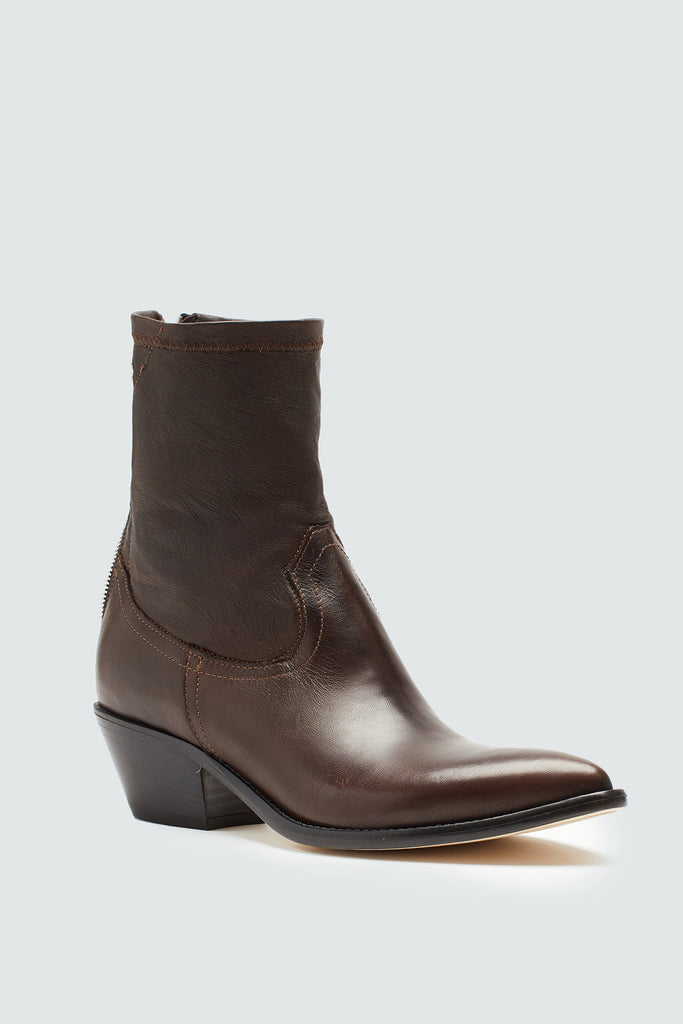 Cedar Brown Leather Western Style Boot for women