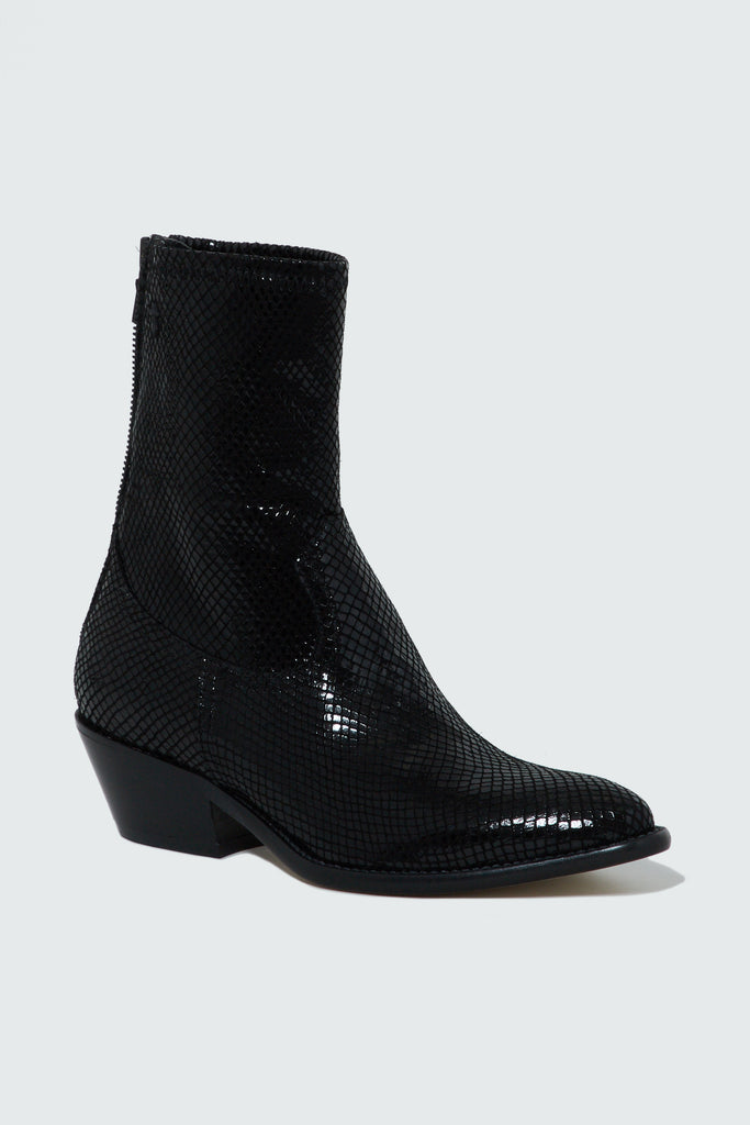 Black Snake Embossed Leather Boots for women