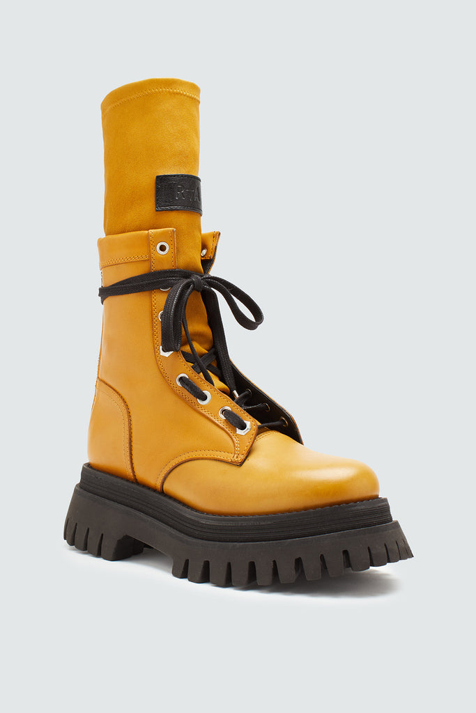 Mustard Yellow Laceup Combat Boot with Chunky Heel