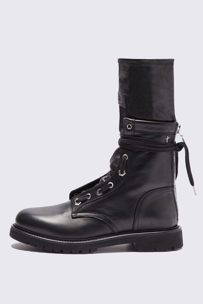 side view of Leather Lace Up Combat Boot for men