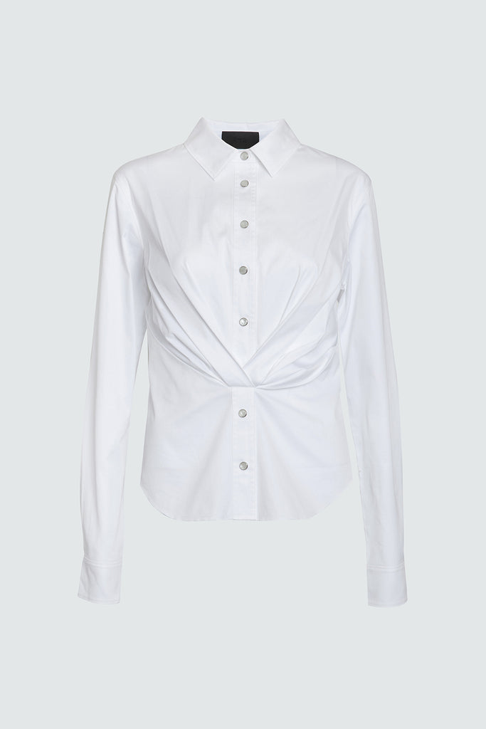 White Cotton Button Up with Front Pleats
