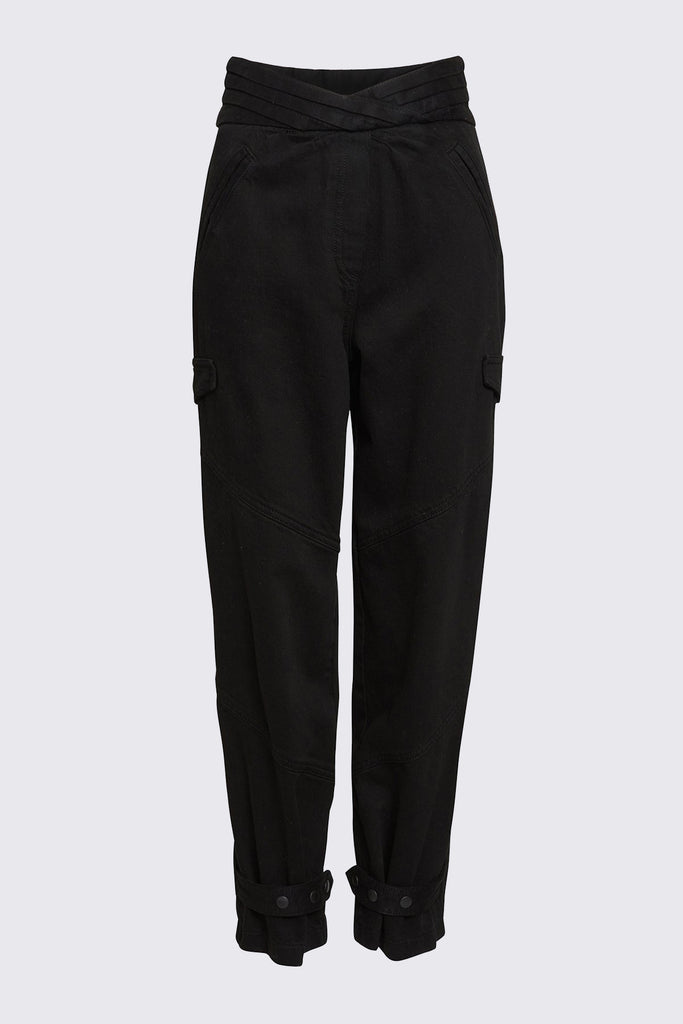 Black Denim Ankle Pant with Pleated Waistband