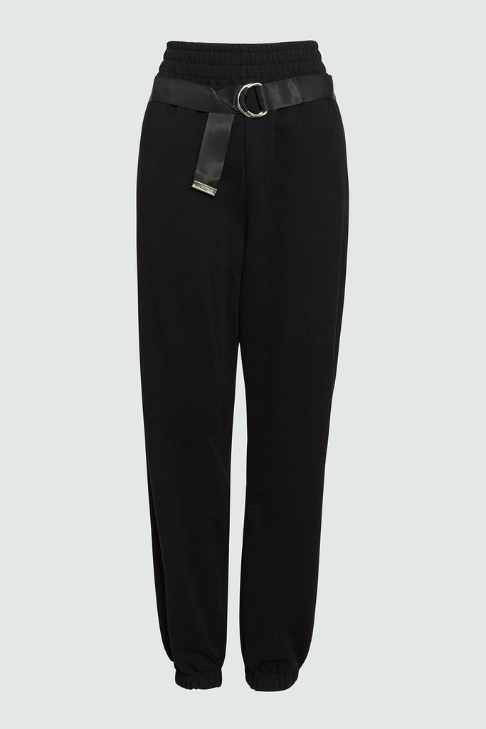 Black Sweatpant with attached Belt