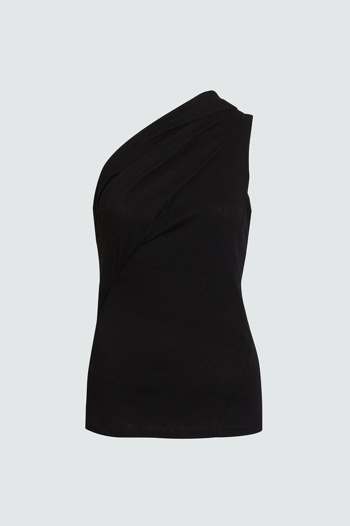 Black Asymmetrical Cotton Top