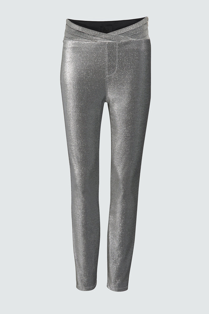 Silver Legging Pant with Pleated Waistband