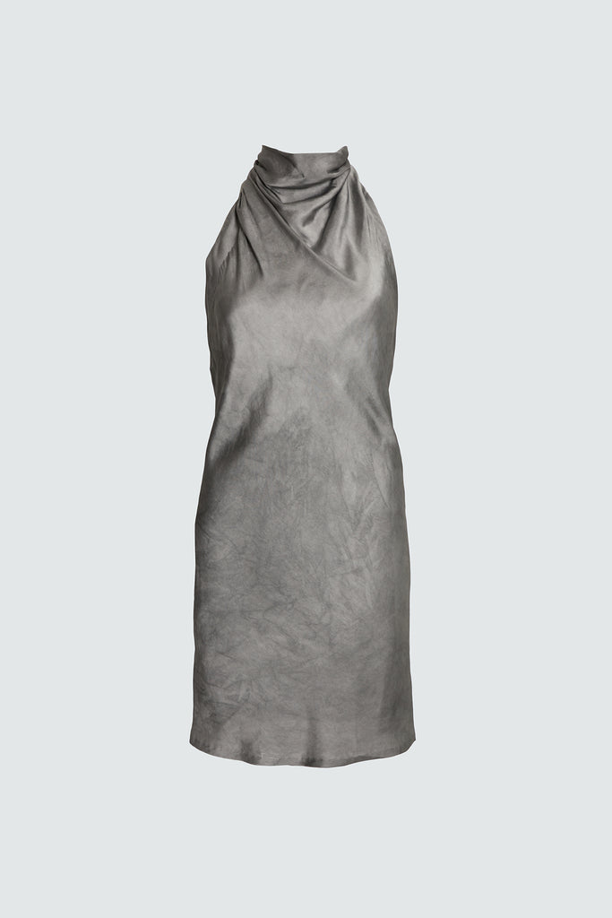 Silky Grey Mini Dress with Mesh Inner