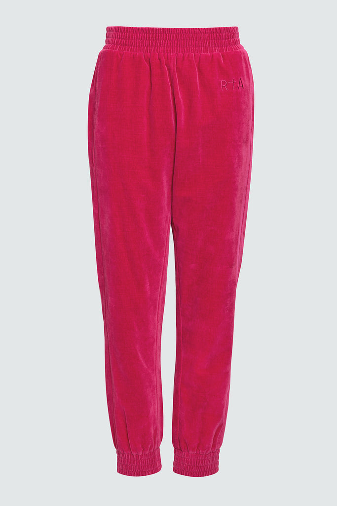 Fuschia Velvet Sweatpants with RtA Embroidery