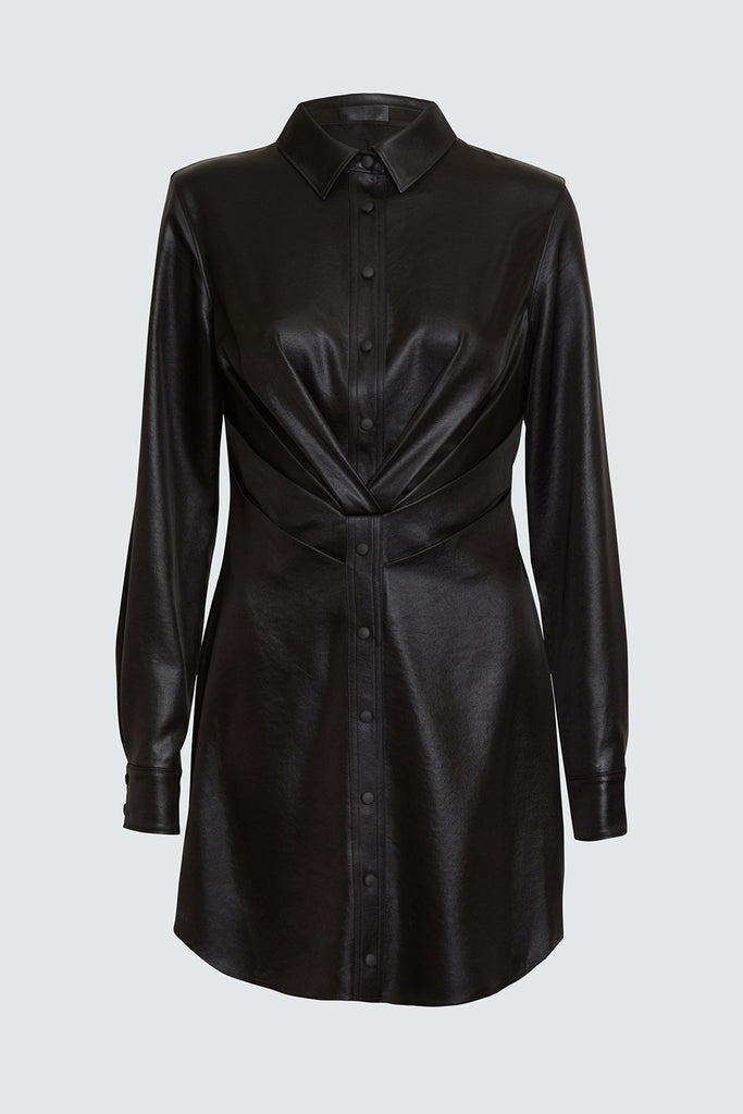 Black Pleated Front Longsleeve Dress with Snap Buttons