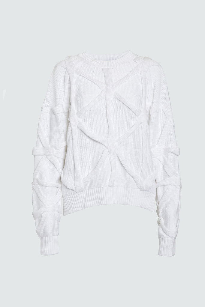 White Cotton Knit Sweater with Knitted Overlay