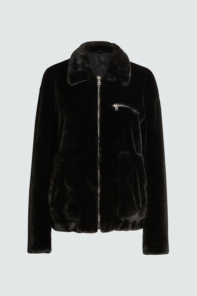 Black Faux Fur Zip Up Collar Jacket