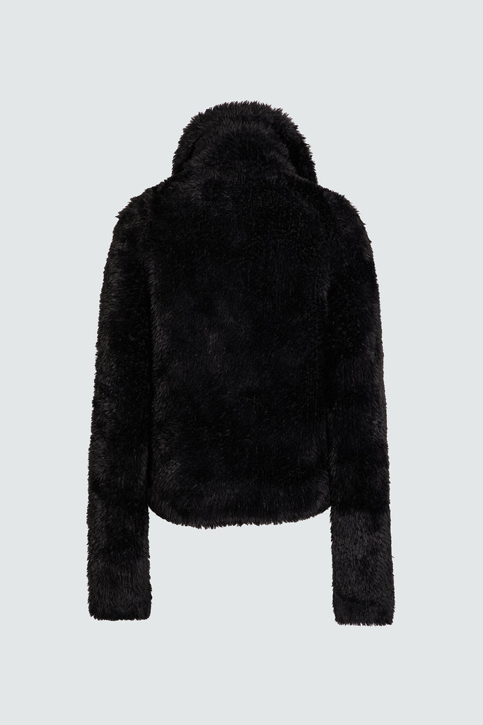 Black Faux Fur Pullover Sweater