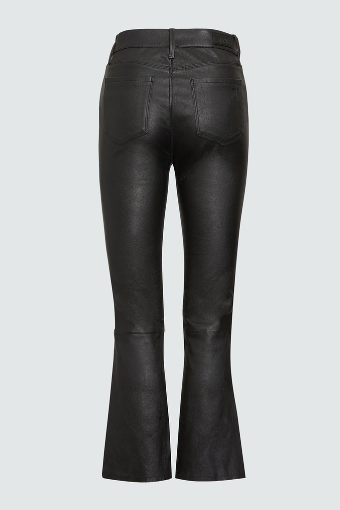 Black Leather Lambskin Cropped Kick Flares