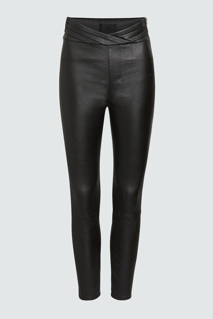 Black Leather Leggings with Pleated Waistband