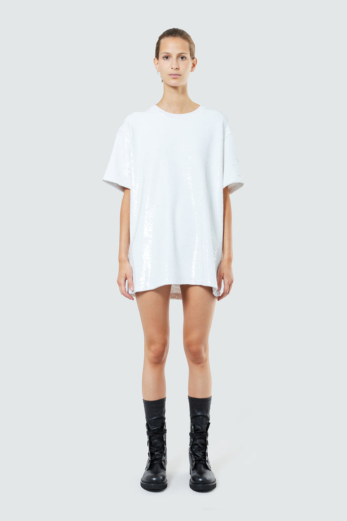 ROMY T-SHIRT DRESS | COMET WHITE