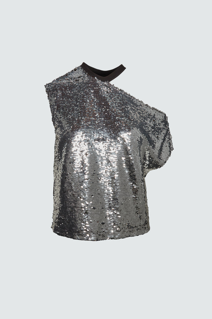 silver sequins sleeveless crewneck tee for women by RtA Brand