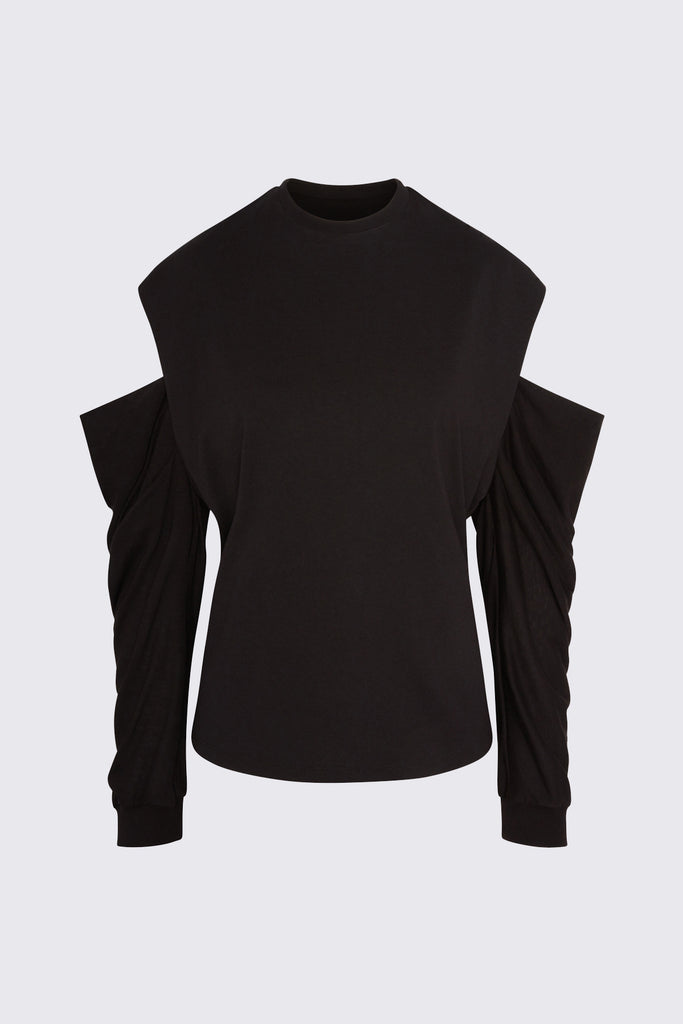 Capucine crewneck jersey top in black cotton by RtA Brand