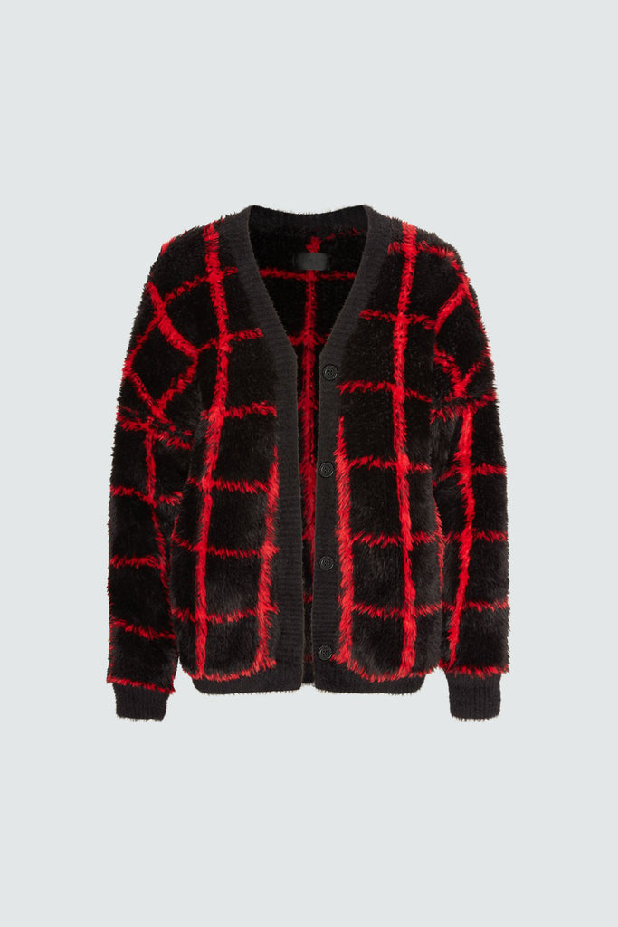ELLA SWEATER | BLACK RED GRID