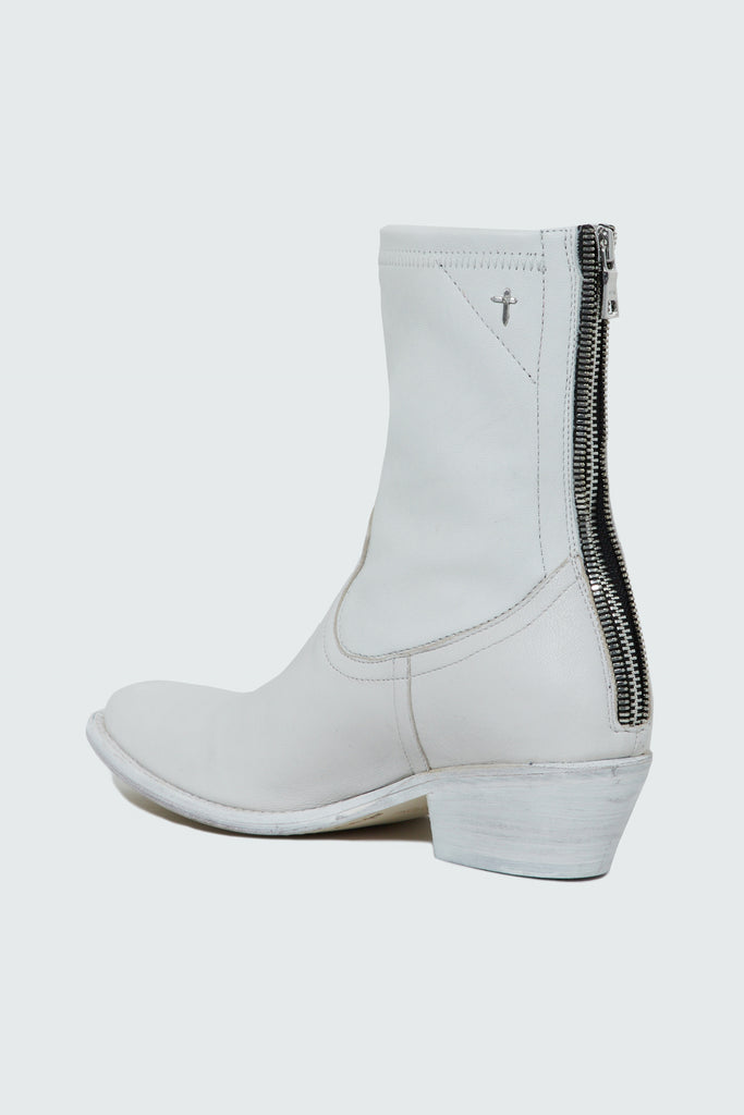 Back zipper of RtA Brand's White Leather Boot