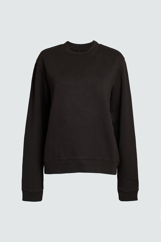 Black Cotton Crewneck Sweatshirt