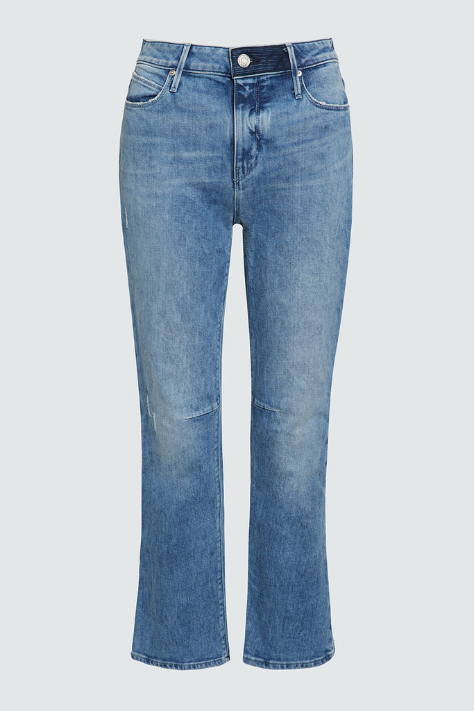 Blue Denim Cropped Kick Flare Jeans