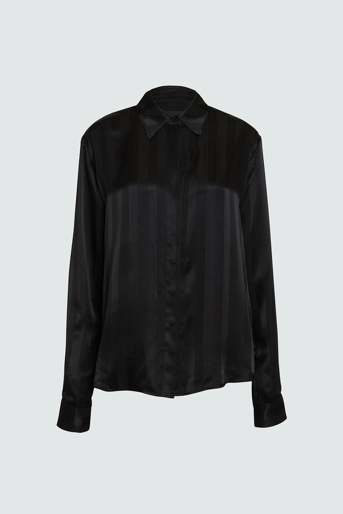 Black Silk Button Up Shirt