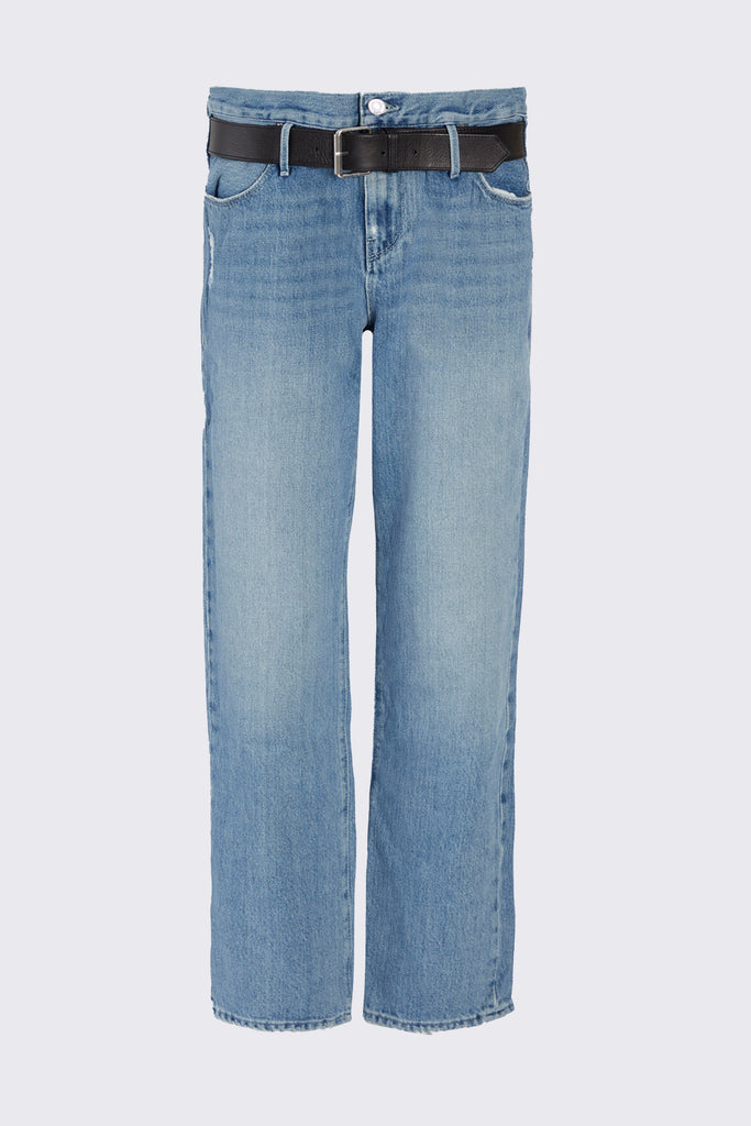 Blue Boyfriend Denim with Attached Half Belt