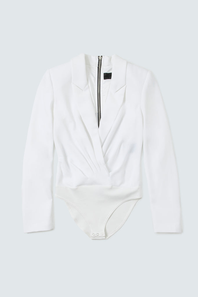 White Blazer Bodysuit with Back Zipper