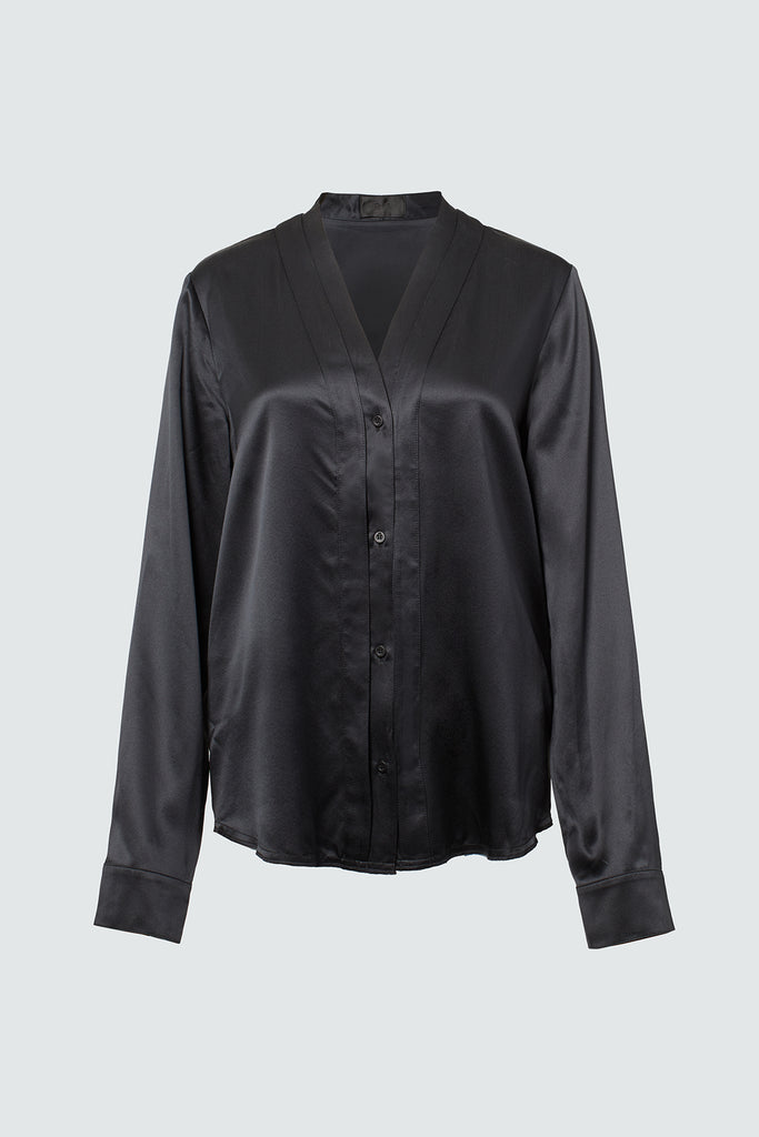Black Silk Button Up Top