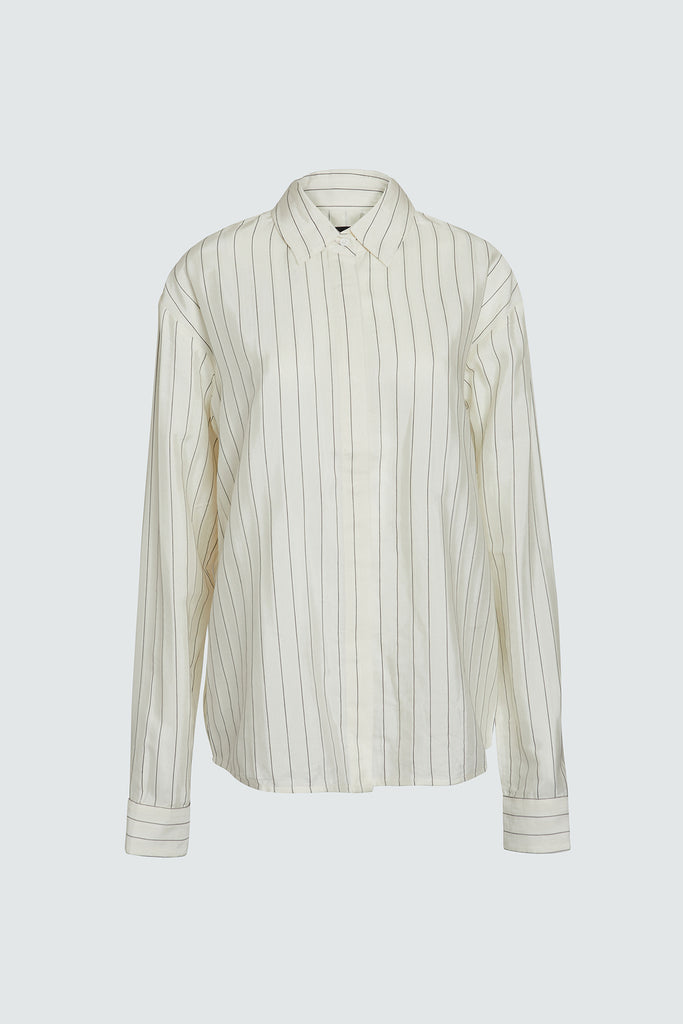 Loose Striped Button Up Shirt