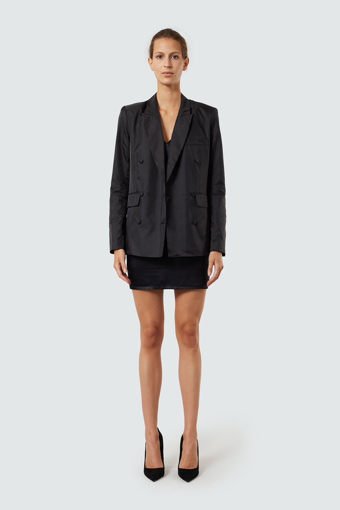 Black Oversized Nylon Double Breasted Blazer