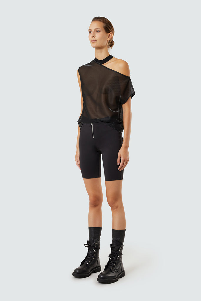Black Sheer Cut Out Tee