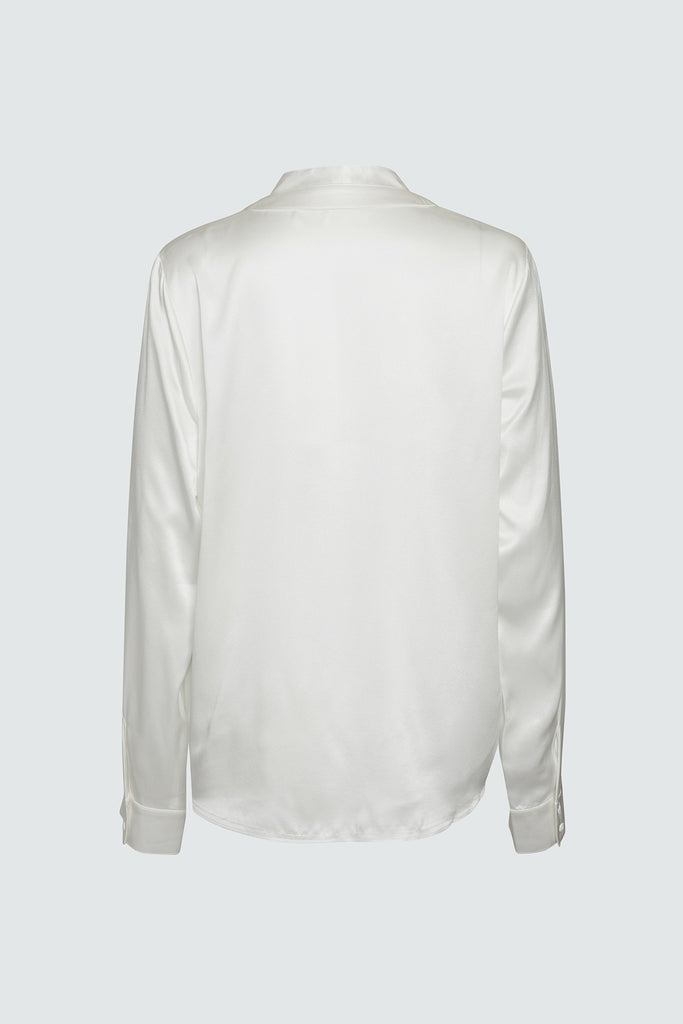 White Silk Button Up Shirt