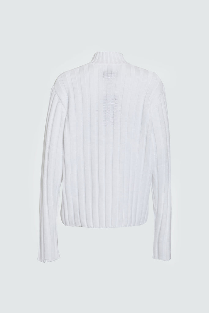 White Ribbed Oversized Sweater